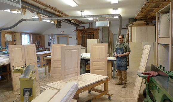 Hand built doors and cabinetry in the workshop
